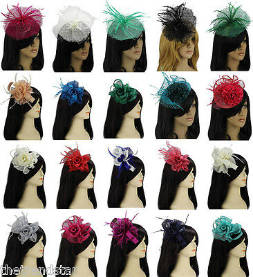 Women New Evening Parties Prom Ladies Style Feather Flower Fascinator Hat Mesh