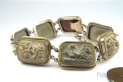 ANTIQUE SILVER CARVED LAVA CAMEO DAYS OF THE WEEK CHARIOTS BRACELET c1900's