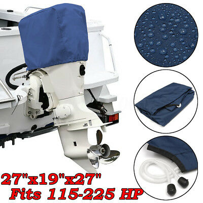Blue Boat Outboard Motor Engine Cover 300D Waterproof For 115-225HP Trailerable