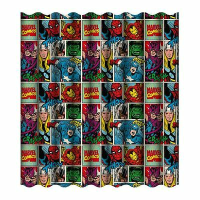 "Marvel Comics Strike Curtains 66"" X 72"" Kids Superheroes Official New"