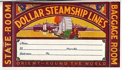 Shipping Company DOLLAR STEAMSHIP LINE Orient Old Luggage Label Kofferaufkleber