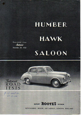 Humber Hawk Saloon Period Road Test Reprinted from The Autocar 1950