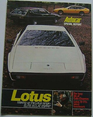 Lotus 79 Elite Eclat Esprit Autocar Special Report Supplement 1979