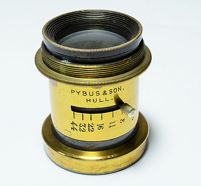 "Antique brass lens, Pybus and Sons of Hull, 6½"" focal length"