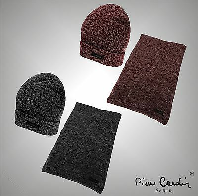 Mens Designer Pierre Cardin 2 Pieces Winter Accessory Set Stretch Scarf And Hat