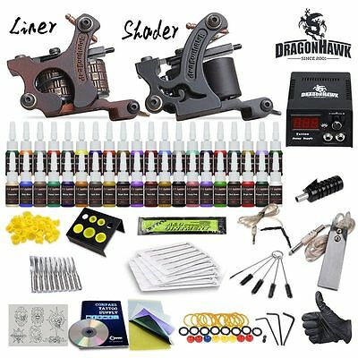 Professional Complete Tattoo Kit 2 Top Machine Gun 40 Color Ink 20 Needles