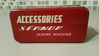 """Vintage Tin Box """"Accessories Sewmor Sewing Machine"""" red lidded metal or tin box"""