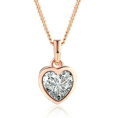 On Trend 18K Rose Gold Plated Sparkly Crystal Love Heart Necklace Pendant