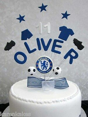 Personalised Chelsea Football Birthday Cake Topper Any Name And Age