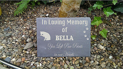 Personalised Engraved Slate Stone Heart Pet Memorial Grave Marker Plaque Dog o