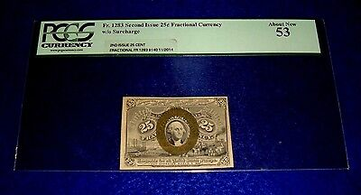 Fr 1283 25 CENT SECOND ISSUE FRACTIONAL CURRENCY PCGS 53 About New