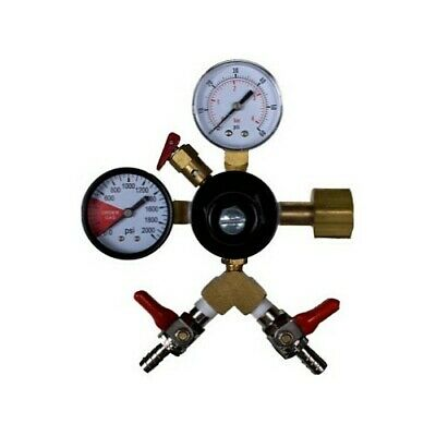 "Taprite CO2 Primary Regulator, Dual Gauge with Dual 5/16"" Hose Barbs - USA Made"