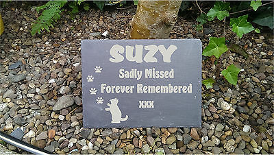 Personalised Laser Engraved Slate Pet Memorial Remembrance Dog Cat Any Pet