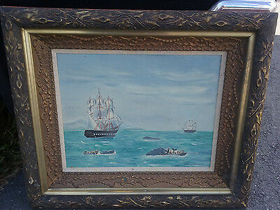 NEW BEDFORD American Folk Art painting oil whaling hunting nautical clipper ship