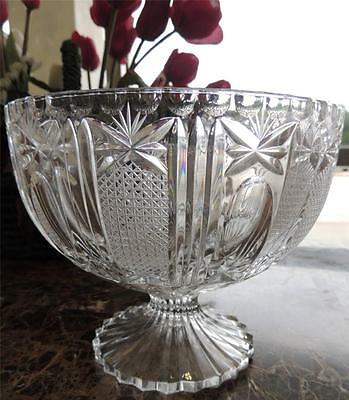Cut Lead Crystal Butterfly Heavy Pedestal Footed Serving Fruit Bowl
