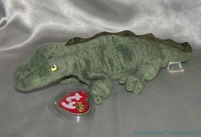 NEW 2000 TY BEANIE BABIES Plush Scaly Moss Green SWAMPY The LIZARD Golden Eyes