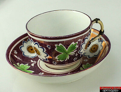 Antique English Hand Painted Purple-Pink Luster Big Floral Motif Cup Saucer L2Z