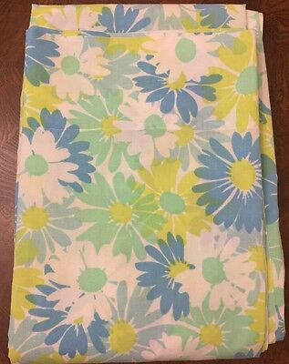 Vintage Twin Flat Sheet Floral Retro Pequot No-Iron blue yellow green **NICE**