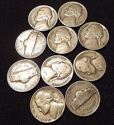 10 Circulated 1943-P Jefferson War Nickels (35%Silver) FREE SHIPPING