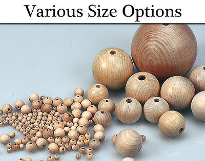 Wooden Untreated Beads for Adults Threading Crafts - Choice of Size