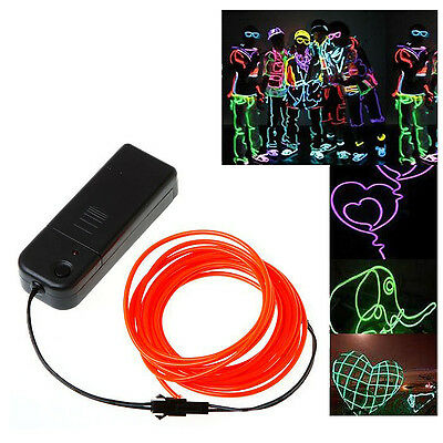 3x(3M White Neon Light EL Wire Rope Tube with Controller (Red) CT