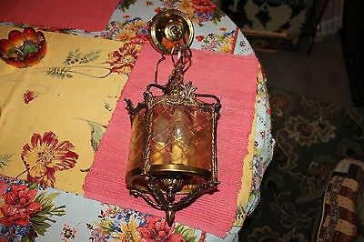 Antique Victorian Art Deco Dore Bronze Brass Metal Chandelier-Etched Glass