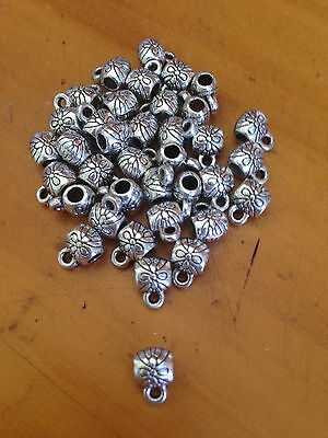 100  Antique Silver Barrel Spacer Beads / Bail