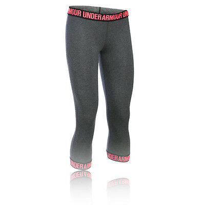 Under Armour Favorite Womens Red Grey Running Gym Capri Tights Bottoms Pants