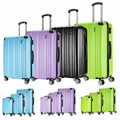 Hard Shell 4 Wheels Suitcase Trolley Travel Bag Case Cabin Hand Luggage ABS Tags