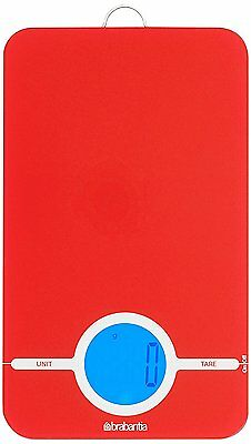 Brabantia Essential Digital Kitchen Baking Cooking Scales, Passion Red