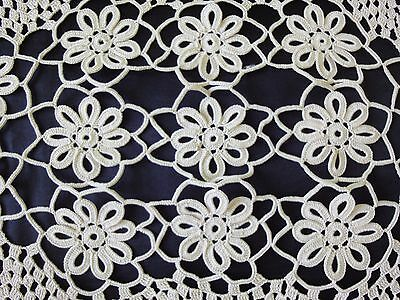 Lovely Vintage Handmade Cotton Crochet Floral Tablecloth in Ecru Colour