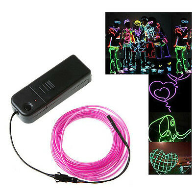 2x(3M Flexible Neon Light Wire Rope Tube With Controller (Purple) CT