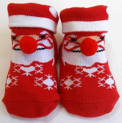 baby booties socks Santa 0-6 month bnwts Christmas unisex girl boy red
