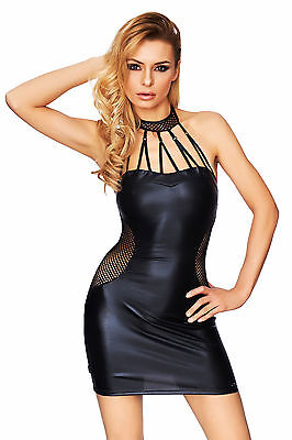 sexy Minikleid schwarz Wetlook Erotik Kleid Clubwear Dessous S,M,L,XL 7-Heaven