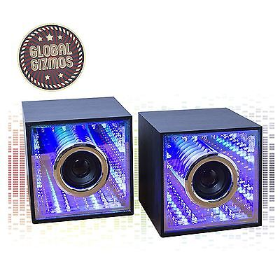 Light Up LED Infinity Mirror USB Computer Speakers 3+3W Twin Wooden Cube Audio