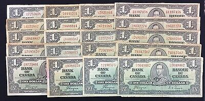 1937 Bank of Canada $1 Lot of 20 Notes