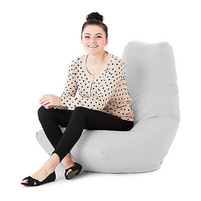 White Faux Leather Adult Bean Bag Gaming Chair Gamer Beanbag Highback Large XXL