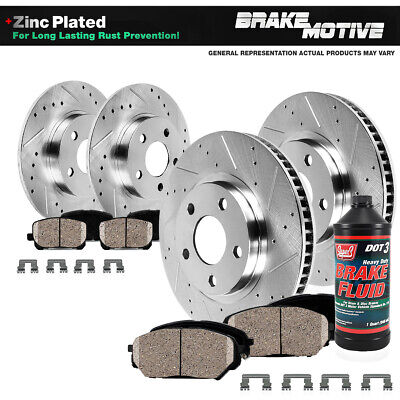 Front And Rear Drill Slot Brake Rotors + Ceramic Pads For Ford Escape Transit
