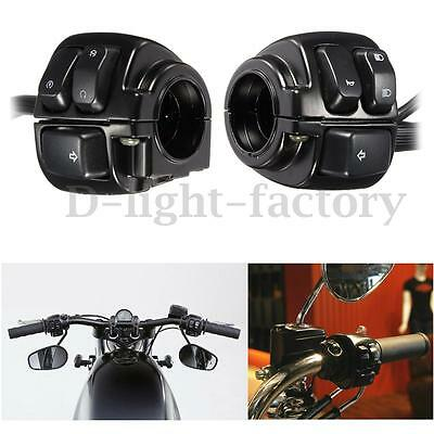 """2x Motorcycle 1"""" 25mm Handlebar Control Switch black + Wiring Harness for Harley"""