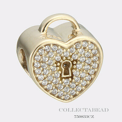 Authentic Pandora 14kt Gold Heart Lock with Clear CZ Bead 750833CZ