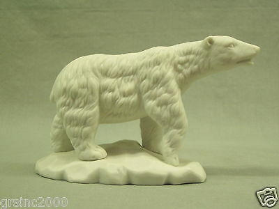 "Vintage Polar Bear Figurine satin white porcelain statue Aldon Accessories 4"" t"