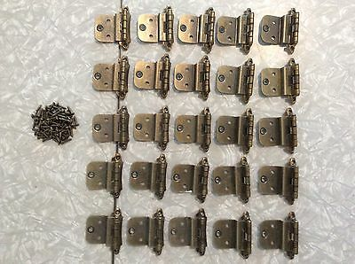 Vintage Lot of 45 Cabinet Hinges & screws Brushed bronze Art Deco  2 1/2 x 2 3/4