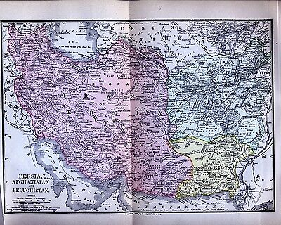 Original Full Color 1890 Antique Map Middle East Persia Afghanistan Beluchistan