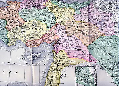 Original Large Full Color 1890  Antique Map Turkey in Asia