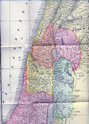 Original Large Full Color 1890  Antique Map Judea Phoenicia Gallilee Samaria