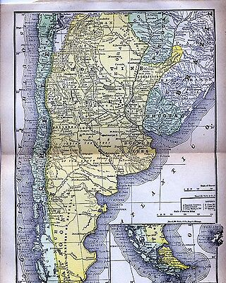 Original Full Color 1890  Antique Map Southern South America Argentina Chile