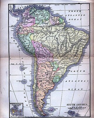 Original Full Color 1890  Antique Map South America