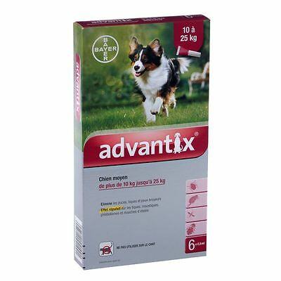 ADVANTIX for Dogs 21-55 lbs (10-25 Kg), 6 pack - FAST FREE SHIPPING -