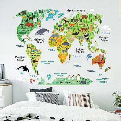 Animal World Map Wall Decal Removable Art Sticker Kids Nursery Room Mural Decor