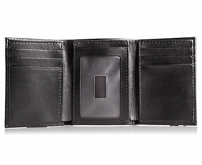 Mens Calvin Klein Black Trifold Wallet Genuine Leather Gift Boxed Rrp $69.95